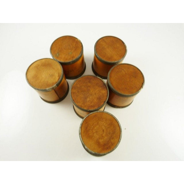 Wood Antique Wood Spice Boxes Set of Six Containers Manufactured by Patent Package Co Allspice Cinnamon Ginger For Sale - Image 7 of 11