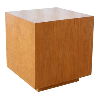 1950s Mid Century Cubed Oak Side Table For Sale