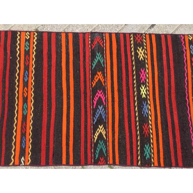 Red Vintage Striped Turkish Kilim Runner Rug For Sale - Image 8 of 10