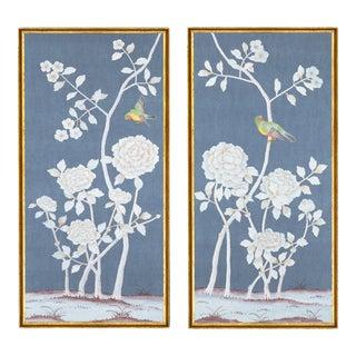 "Jardins en Fleur ""Brympton"" Chinoiserie Hand-Painted Silk Diptych by Simon Paul Scott in Italian Gold Frame - a Pair For Sale"