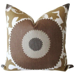 Taupe Gulkurpa Suzani Pillows - A Pair