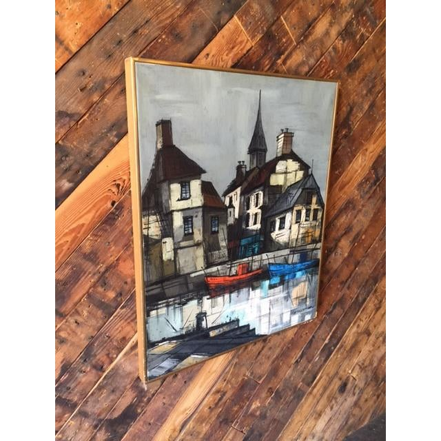 Mid-Century Modern Mid Century Port Scape Oil Painting by M Edward Griff For Sale - Image 3 of 6