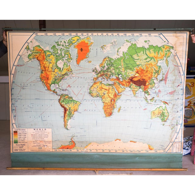 Selected by Ken Fulk at Brimfield Antiques Market. A fantastic 1951 roll-down world map, likely from a schoolhouse....