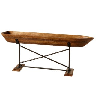 Wood Carved Boat on Stand