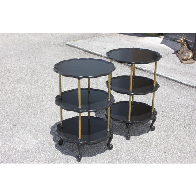 Beautiful Pair of French Louis XV Ebonized Side Table Circa 1910s. For Sale - Image 9 of 13
