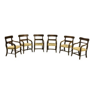 Carved Wood and Rush Seat Dining Armchairs - Set of 6 For Sale