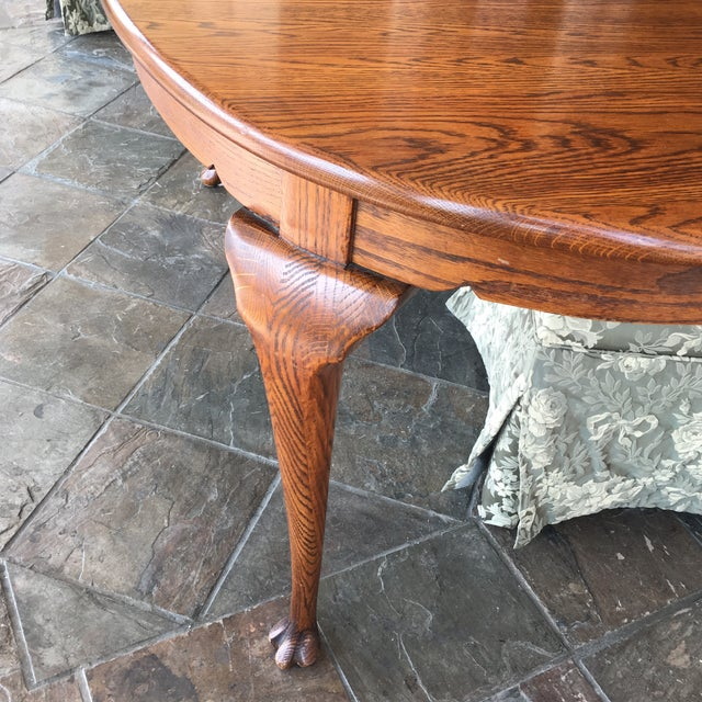 Oak Dining Table With Queen Anne Legs For Sale - Image 4 of 11