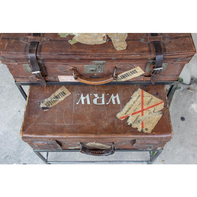 Brown Pair of Antique English Luggage Nesting Tables For Sale - Image 8 of 13