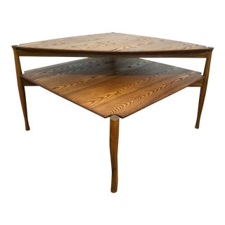 Vintage Mid-Century Oak 2-Tier End Table For Sale