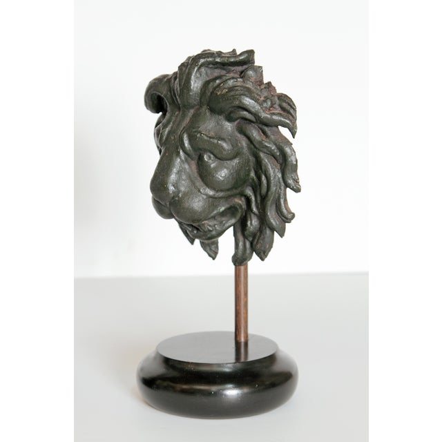 Neoclassical Early 19th Century Pair of Carved Wood Lion Heads For Sale - Image 3 of 13