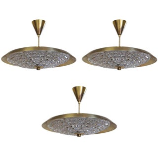 Set of Three Swedish Orrefors Light Fixtures For Sale