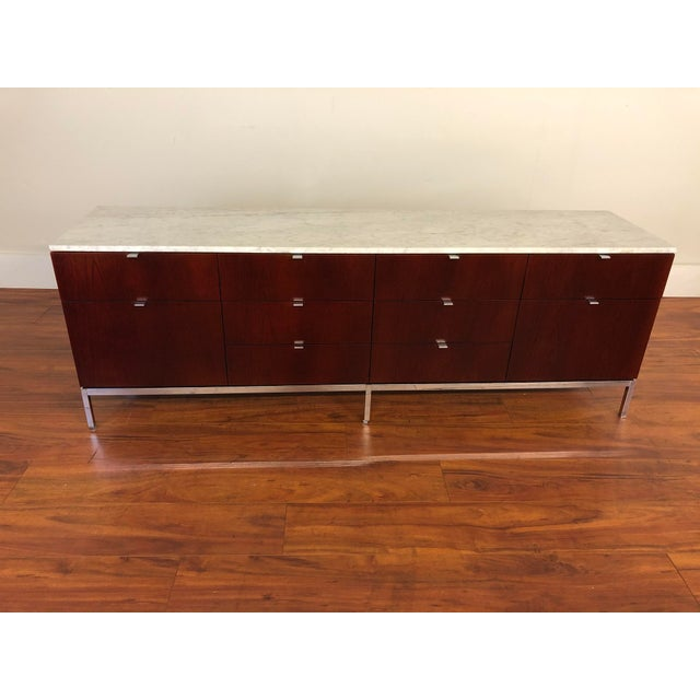 Brown Florence Knoll Four Position Credenza With Marble Top For Sale - Image 8 of 13