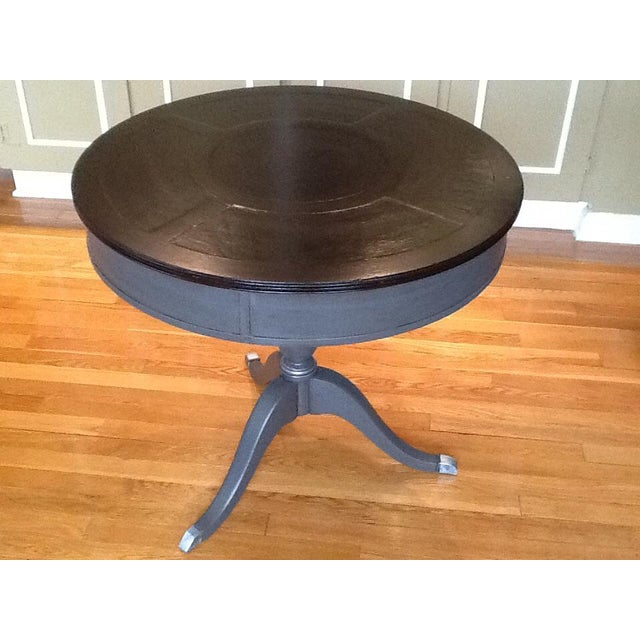 Stunning Vintage Drum Table Redone in Elephant Grey , Java Stained Top with Silver accents on Draw Pull, Table Feet and...