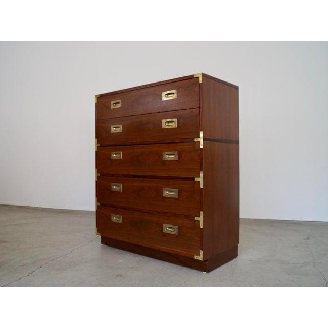 Lane Furniture Hollywood Regency Walnut Rosewood Campaign Dresser For Sale - Image 4 of 13