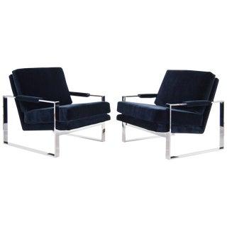 Mid Century Milo Baughman Chrome Flat Bar Lounge Chairs - a Pair For Sale