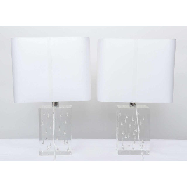 Pair of Rare Thick and Lucite Block with Raindrop Lamps For Sale - Image 4 of 11