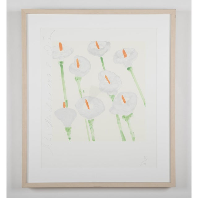 """DONALD SULTAN (American, B. 1951) """"Lilies"""" 1998, serigraph printed in colors on Arches 88 paper , 16.5 x 15.2 inches,..."""