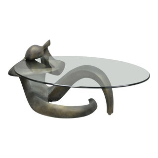 Mid Century Modern Picasso Style Figural Female Oval Glass Top Coffee Table For Sale