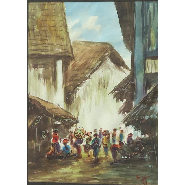 African Village Vintage Watercolor Painting - Image 3 of 4