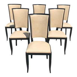 1940s Vintage French Art Deco Dining Chairs - Set of 6 For Sale