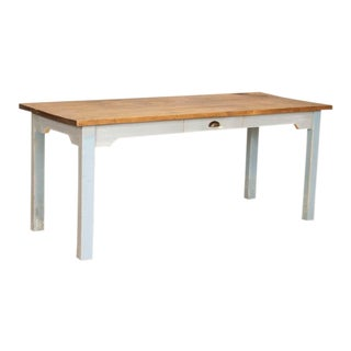 Antique Farm Table Dining Table With Original Blue Painted Base For Sale
