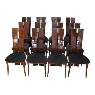 Modern Italian Lacquer Cherry Chairs - Set of 12 For Sale