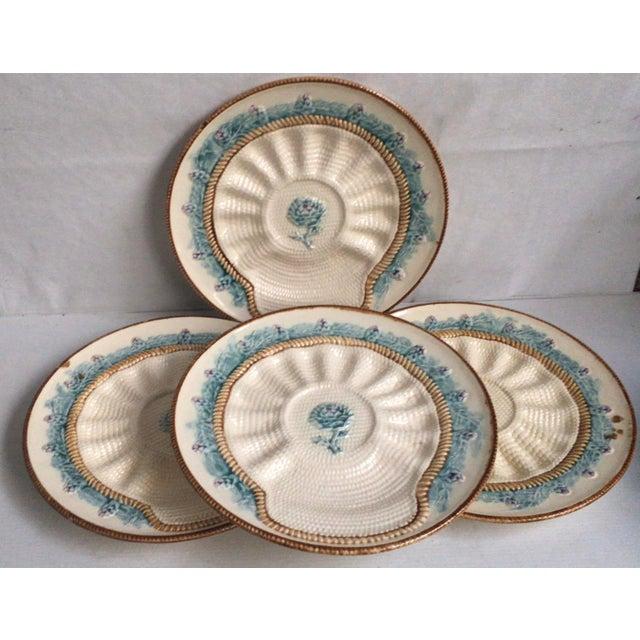 Rare French Majolica artichoke plate signed Longchamp, circa 1890. 4 plates are available.