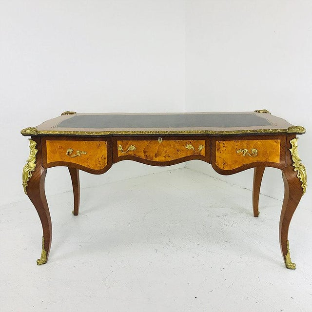 French French Ormolu Desk With Burl Wood & Leather Top For Sale - Image 3 of 7