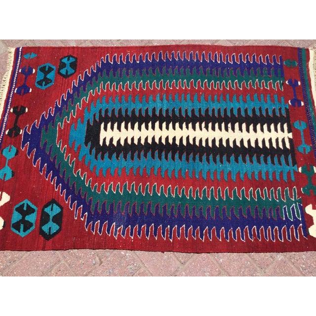 Small Vintage Turkish Kilim Rug For Sale - Image 4 of 10