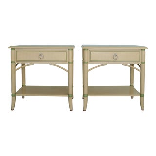 1970's Thomasville Hollywood Regency Faux Bamboo Nightstands - a Pair