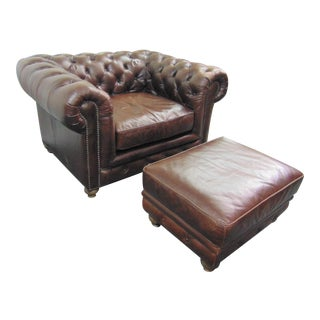 English Style Brown Leather Chesterfield Club Chair & Ottoman For Sale