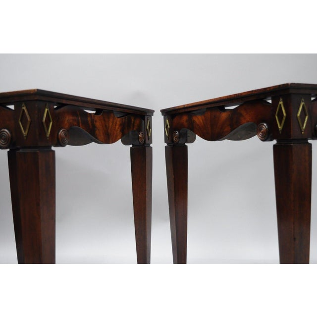 pair of antique pink marble top mahogany end tables regency square weiman era for sale in - Antique Mahogany End Tables
