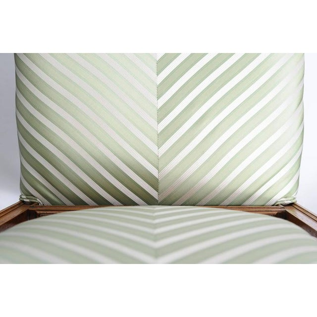 Set of Six English, Edwardian Style Dining Side Chairs with Green Upholstery Fabric - Image 9 of 10