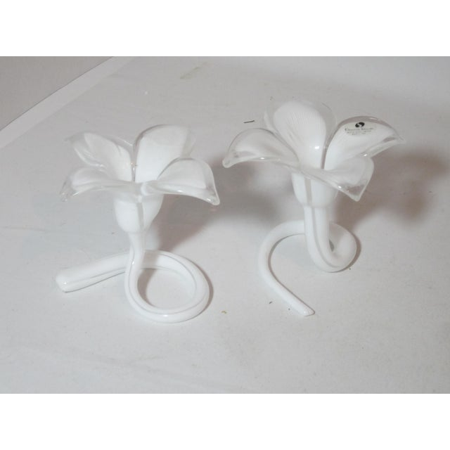 Art Nouveau White Murano Lilly Candle Holders - Set of 2 For Sale - Image 3 of 9