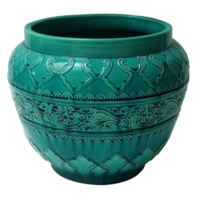 Turquoise Majolica Planter For Sale