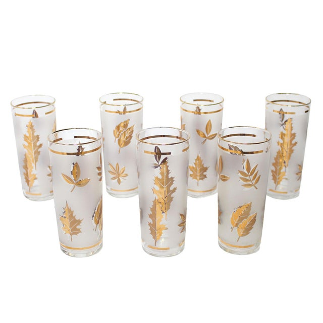 White Vintage Tom Collins or Iced Tea Glassware - Set of 7 For Sale - Image 8 of 8