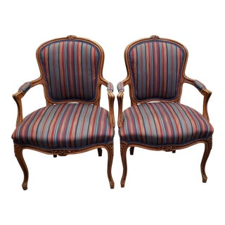 1940s French Carved & Upholstered Walnut Arm Chairs - a Pair For Sale