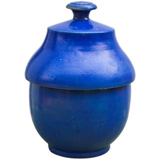 Blue Ceramic Lidded Bowl For Sale