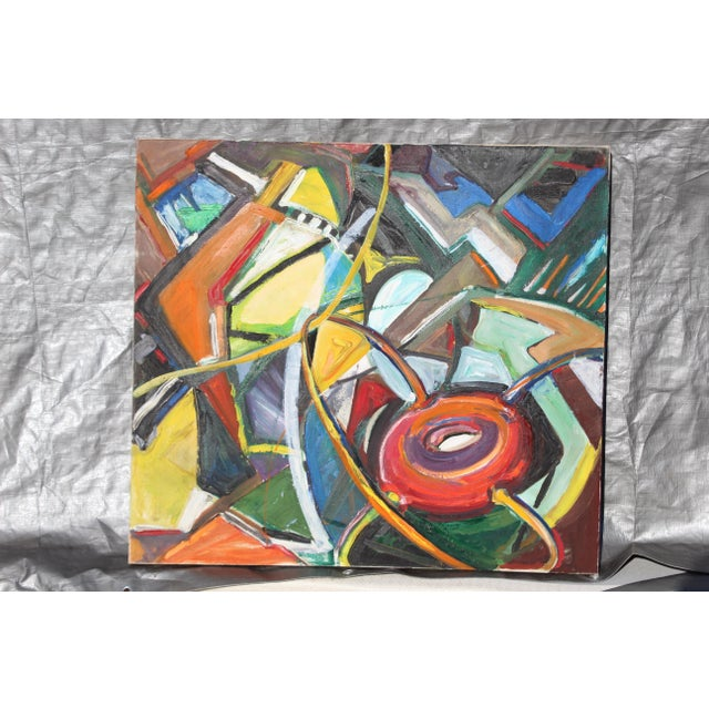 Mid-Century Modern Abstract Oil Painting For Sale - Image 4 of 4