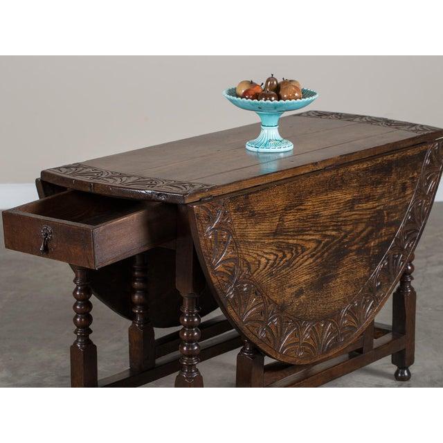 Antique English Oak Drop Leaf Table circa 1885 For Sale - Image 4 of 11