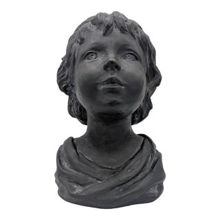 Late 20th Century Black Plaster Bust of Child Sculpture For Sale
