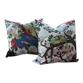 """G.P. And J. Baker """"Rockbird"""" Multi on White of 22"""" Down Filled Pillows - a Pair For Sale"""