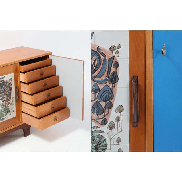 Blue Modernist Sideboard With Perignem Ceramic and Macassar Details For Sale - Image 8 of 12