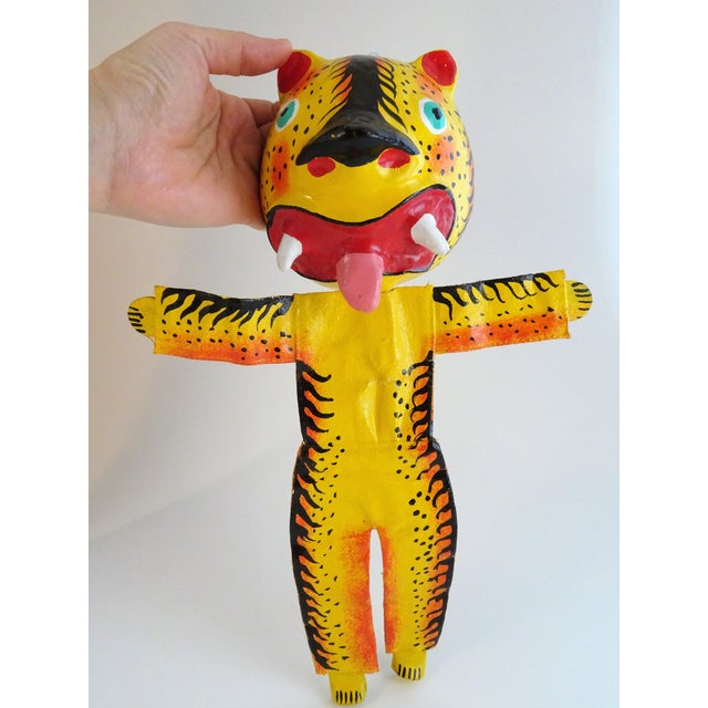 Hand Painted Tiger Sculpture For Sale - Image 10 of 11
