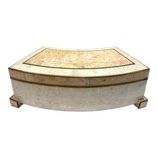 1970's Casa Bique Tessellated Stone and Brass Architectural Decorative Box For Sale