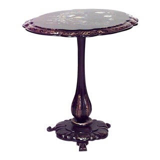 English Victorian Paper Mâché Lacquered End Table For Sale