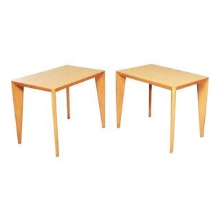 Mid Century Modern Blonde Side Tables or End Tables With Laminate Tops a Pair For Sale