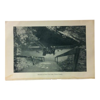 "Vintage Black & White Rustic Americana Print, ""Entrance to Penn Cave Lake - Centre County"", Circa 1930 For Sale"