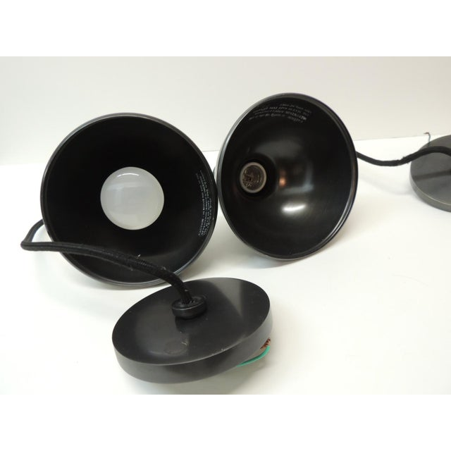 Early 21st Century Pendant Lights in Gunmetal Color With a Cloth Covered Cord - a Pair For Sale - Image 5 of 6