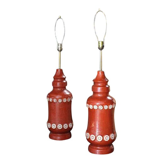 Pair of Stunning Brick Color Glazed Pottery Table Lamps For Sale